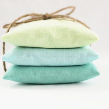 Blue Green Pastel Lavender Sachets, Modern Home Fragrance, Set of 3