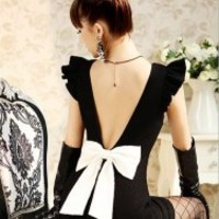 Vintage Flat Collar Backless Big Bow Sleeveless Bodycon Dress For Women (BLACK,ONE SIZE) | Sammydress.com