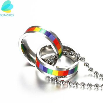 Boniskiss 2017 Rainbow Fashion Men Statement Necklace Couple Necklaces & Pendants Personalized Stainless Steel Necklace Women