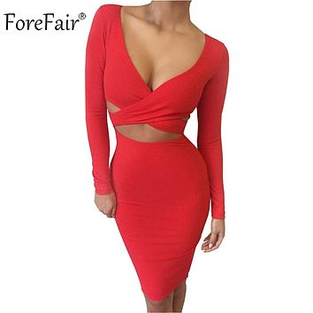 ForeFair Blue Black White Long Sleeve Elastic Cotton Winter Elegant Party Dresses Sexy Midi Pencil Club Bandage Bodycon Dress