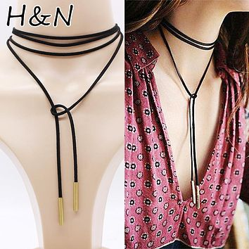 Luxury hollow Ethnic Choker Necklace Gothic Charm Long rope boho Black Leather vintage for Women statement layer chocker Jewelry