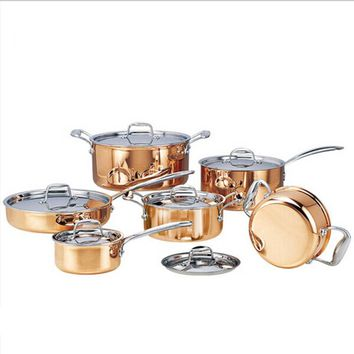 High-grade Copper 6 Pieces Cooking Pots With Frying Pan Stainless Pot Hot Pot And Pans Cookware Set