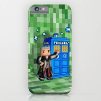 8bit 12th Doctor with Blue Phone box iPhone 4 4s 5 5c 6, pillow case, mugs and tshirt iPhone & iPod Case by Three Second