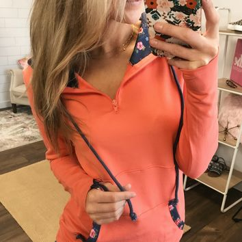 Best of Me Floral Accent Quarter Zip Hoodie- Coral