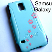 Galaxy S6 Otterbox Case, Otterbox Samsung Galaxy S6 Case Custom Glitter cat Paw case, Sparkly S6 Case