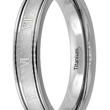 CERTIFIED 4.5mm Titanium Wedding Band Roman Numeral Ring Grooved Edges Flat