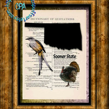 OKLAHOMA State Black Silhouette, State Birds, State Nickname Art - Beautifully Upcycled Vintage Dictionary Page Book Art Print
