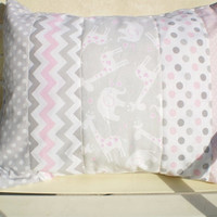 Throw pillow cover,Baby girl Nursery pillow cover 12 x 16,pillow sham,giraffe,elephant,girl room pillow cover,chevron,dots grey,pink,quilted