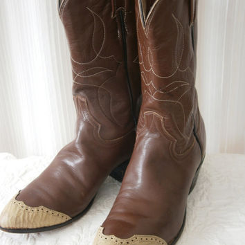 Vintage Western Boots - Ivory Toe