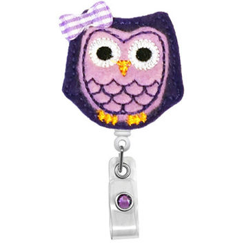 Cute Light Purple Owl - Name Badge Holder - Nurses Badge Holder - Cute Badge Reels - Unique  ID Badge Holder - Felt Badge - RN Badge Reel