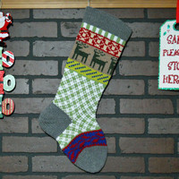 Christmas Stocking, hand knit in Gray with Reindeer, Fair Isle Knit, can be personalized