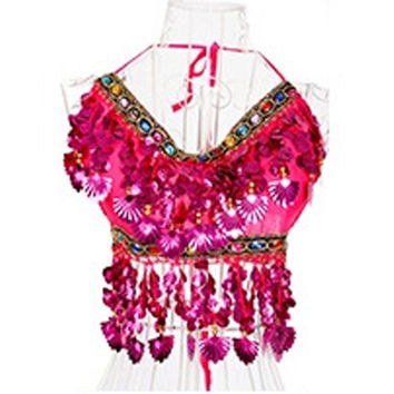 Women/Lady/Girl Hand Made Sexy Folded Sequins Bead Bells Belly Dance Bra Top YRD