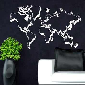 World Map Wall Decal- World Map Decal- World Map Wall Mural- World Map Wall Sticker Art Home Decor For Office Living Room C040