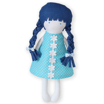 Handmade Cloth Doll Rag Doll 12 inch Fashion Doll Soft Dress Up Doll Polka dot Back cut out sleeveless Dress and Skirt Blue hair Blue eyes