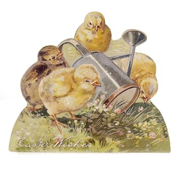 Easter RABBIT & CHICK DUMMY BOARD Wood Decoupaged Vintage Rl6566 Wishes