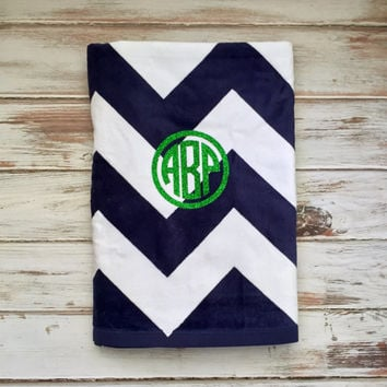 Monogrammed Beach Towels, 30 x 60 Cotton Velour Beach towel, Chevron Polkadot, Preppy stripes, Heat Transfer Vinyl Monogram