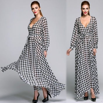 New Fashion Women Sexy Evening Party Ball Prom Gown Long Sleeve Formal Cocktail Maxi Dress