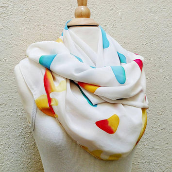 Abstract Scarf / Bright Happy Scarf / 1980s / Batik /