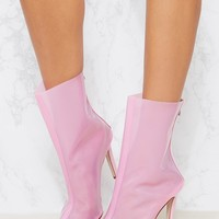 Pink Vinyl Pointed Zip Back Ankle Boot