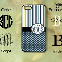 Monogram Blue Poka Dots and Strips -iPhone 5, 5s, 5c, 4s, 4 case, Ipod touch 5, Samsung GS3, GS4 case-Silicone Rubber or Hard Plas