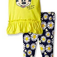Disney Toddler Girls Minnie Mouse Legging Set with Tulle Fashion Top, Yellow, 4T