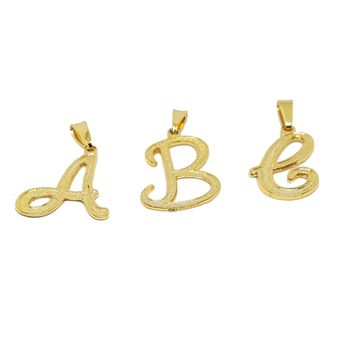 "(1-2456-h7) Gold Overlay Cursive Letter Initials Pendant, 1""."