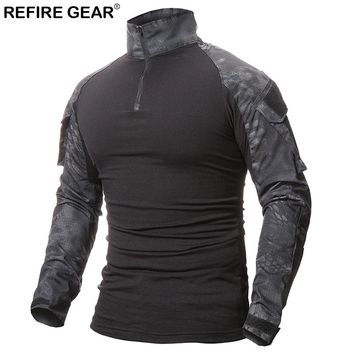 Refire Gear Outdoor T-shirt Men Long Sleeve Hunting Tactical Military Army Shirts Uniform Hiking Breathable Shirt 9 Colors