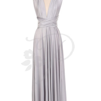 Bridesmaid Dress Infinity Dress Light Grey / Silver Floor Length Wrap Convertible Dress Wedding Dress