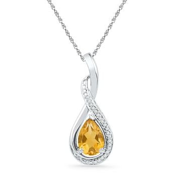 Sterling Silver Womens Oval Lab-Created Citrine Solitaire Diamond Frame Twist Pendant 1-1/6 Cttw