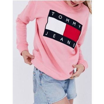 ONETOW Tommy Hilfiger Fashion Women Men Print SweaterShirt B-KWKWM White Tagre?