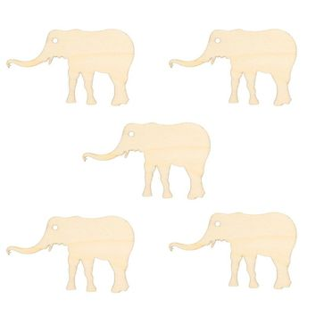 5 Pcs Unfinished Wood Cutout Chips for Board Game Pieces Arts Crafts Projects Ornaments (Elephant)