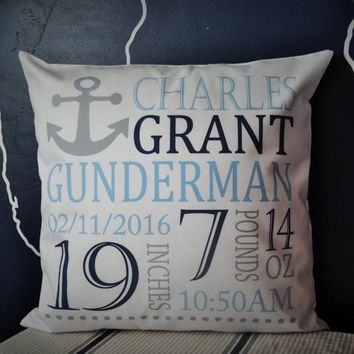 Anchor Themed Personalized birth pillow cover