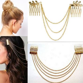 LNRRABC Women Hair Combs Metal Tassel Chain Ladies Headband Hair Accessories Clip Bridal Leaf Headwear Bijoux Drop Shipping