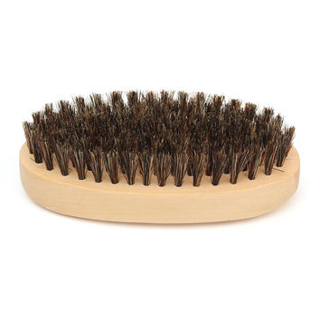 Mustache Beard Brush Natural Boar Bristle Round Handle Men's Face Message Facial Hair Beard Comb Shaving Badger Brushes