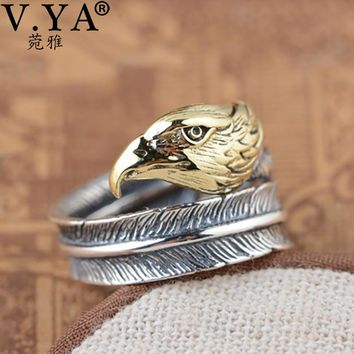 V.YA Real 925 Sterling Silver Eagle Head Rings For Men Thai Silver Vintage Style Open Ring High Quality Jewelry