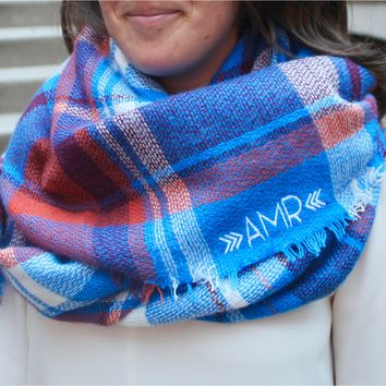 Monogrammed Blanket Scarf - Blue & Orange