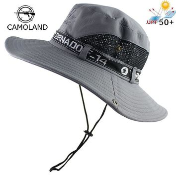 UPF50+ Sun Hat Men Mesh Bucket Hat Women Summer Fishing Hiking Cap Wide Brim UV Protection Flap Hat Breathable Beach Cap Outdoor