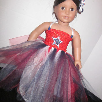 American Girl 18 Inch Doll Our Generation 4th of July Tutu Dress And Hairbow By Sweetpeas Bows & More