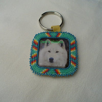 Native American Style Rosette Beaded Wolf Key Chain in Mallard Green and Zuni Turquoise