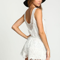 WHITE CROCHET WRAPPED ROMPER