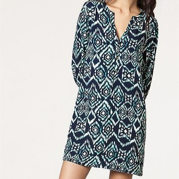 Navy Ikat Print Shirt Dress