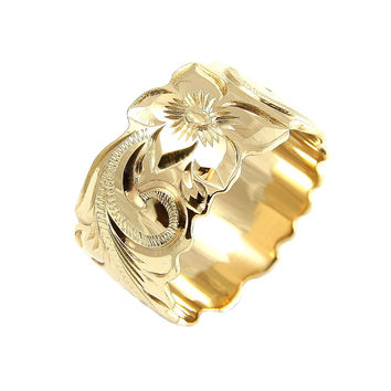 14K YELLOW GOLD HAND ENGRAVED HAWAIIAN PLUMERIA SCROLL BAND RING CUT OUT 12MM