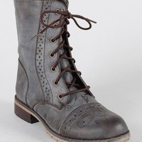 Lug-13 Perforated Lace Up Military Ankle Bootie