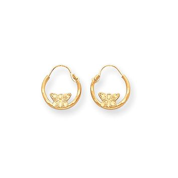 12mm Children's Butterfly Diamond-Cut Hoop Earrings in 14k Gold