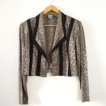 Vintage 80s Python Print New Wave Plus Size Bolero Jacket - Women's Cropped Snake Skin Look Lightweight Jacket - Size 16