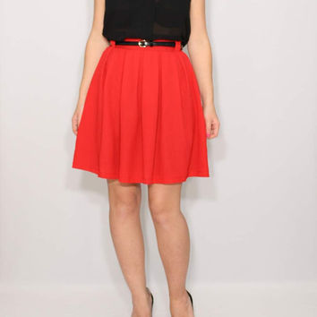 Short red skirt High waisted skirt with pockets Pleated skirt Mini skirt