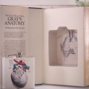 Vintage Hollow Book Safe and Pericardium Heart Hip Flask - Gray's Anatomy (CLASSIC COLLECTORS EDITION)