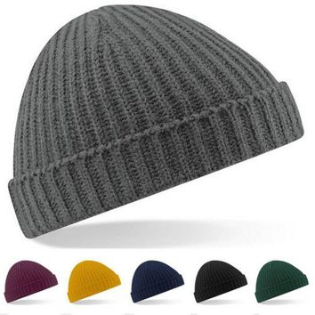Running Cap Women and Men Winter Skull  Knit Beanie Reversible Baggy Cap Warm Unisex Hat New