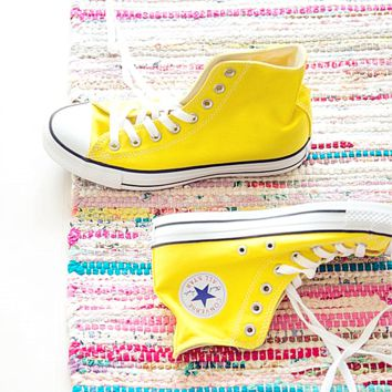 Adult Leisure  Converse All Star Sneakers High-Top Leisure shoes Yellow