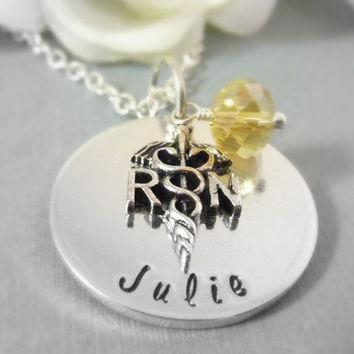 Personalized RN Nurse necklace Nurse Graduation Gift Hand stamped RN custom necklace